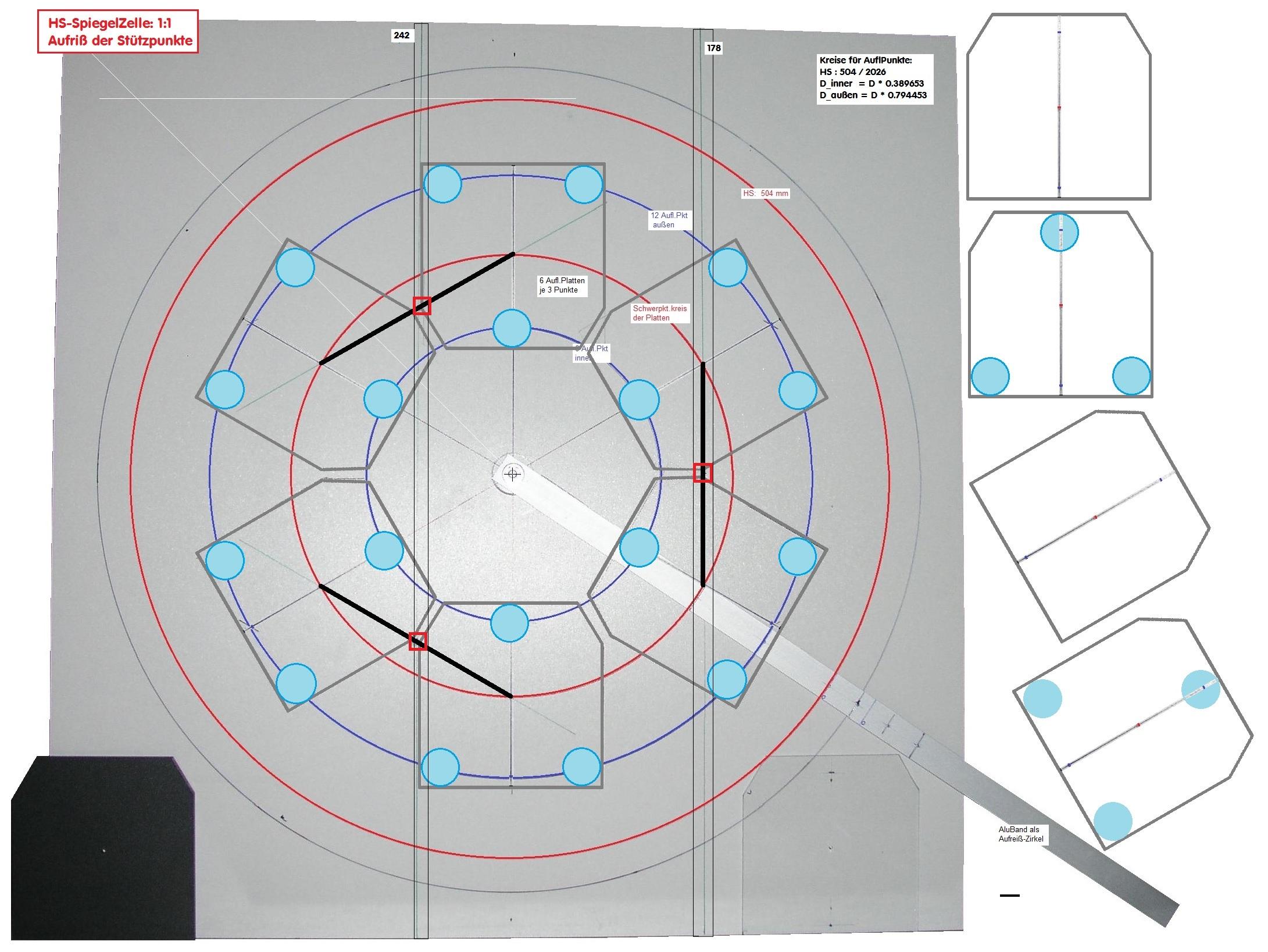 astro c084 hauptspiegel zelle konstruktion und auflagepunkte. Black Bedroom Furniture Sets. Home Design Ideas
